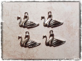 Metall Charms-Enten Silber-222