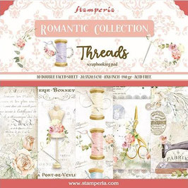 """Stamperia-Paper Pad Romantic Collection-Threads 8x8"""""""
