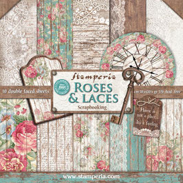 Stamperia-Paper Pad Roses, Laces & Wood 12x12""