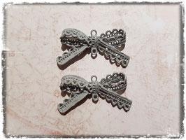 Metall Charms-Schleife Grau-4.008