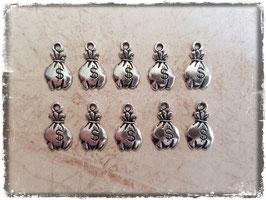 Metall Charms-Geldsack Silber-275