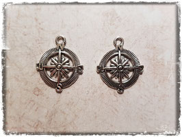 Metall Charms-Kompass Silber-246