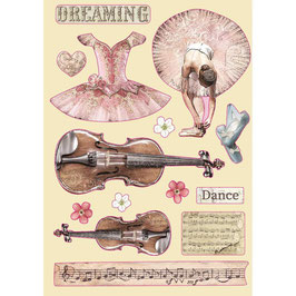 Stamperia-farbige Holzformen A5-Passion-Violin & Dance KLSP099