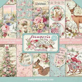 """Stamperia-Paper Pad Pink Christmas 8x8"""""""