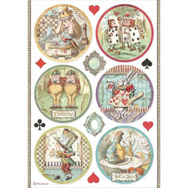 Stamperia Reispapier A4-Alice II DFSA4606