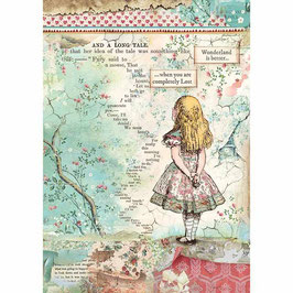 Stamperia Reispapier A4-Alice DFSA4349