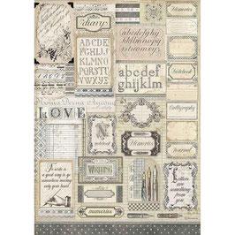 Stamperia Reispapier A3-Calligraphy DFSA3081