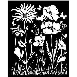Stamperia-Stencil/Atelier Des Arts-Poppy & Flower KSTD072