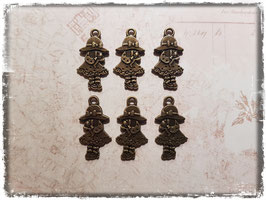Metall Charms-Mädchen mit Teddy Bronce-122