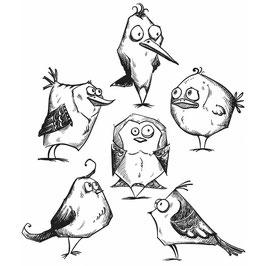 Tim Holtz Stempel Set-Bird Crazy/CMS212
