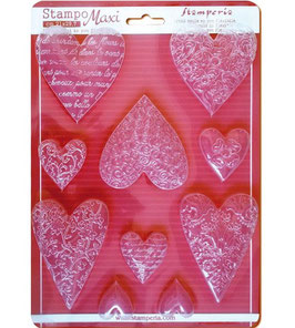 Stamperia-Soft Maxi Mould/Textured Hearts A4