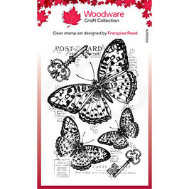 Woodware-Stempel/Three butterflies