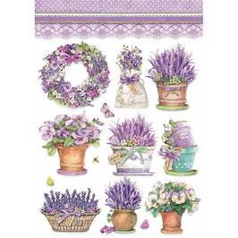 Stamperia Reispapier A4-Provence DFSA4456