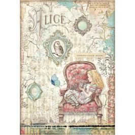 Stamperia Reispapier A4-Alice II DFSA4601