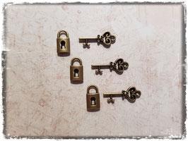 Metall Charms-Schlösser & Schlüssel Bronce-156