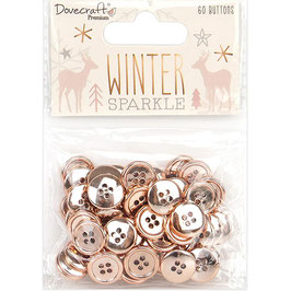 Dovecraft-Winter Sparkle Buttons/Rose Gold