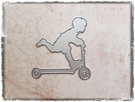 Stanzform-Junge auf Trottinett 1076