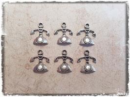 Metall Charms-Telefon Silber-213