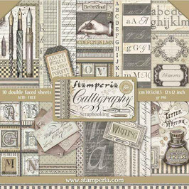 """Stamperia-Paper Pad Calligraphy 12x12"""""""