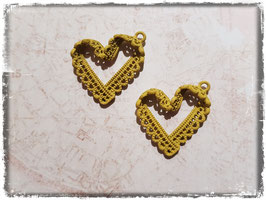 Metall Charms-Herz Gelb-371