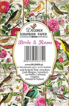 Decorer-Ephemera Karten/Birds & Roses