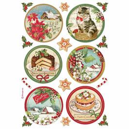 Stamperia Reispapier A4-Classic Christmas DFSA4477
