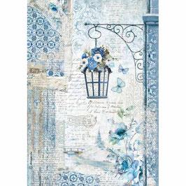 Stamperia Reispapier A4-Blue Land DFSA4336
