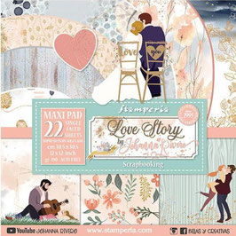 Stamperia-Paper Pad Love Story Maxi 12x12""