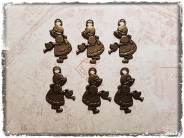 Metall Charms-Mädchen mit Giesskanne Bronce-198