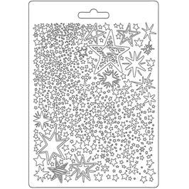 Stamperia-Soft Mould A5-Christmas Patchwork Stars K3PTA584