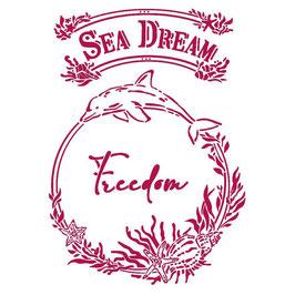 Stamperia-Stencil/Romantic Collection-Sea Dream/Freedom KSG462