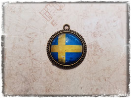 Cabochon Anhänger - Flagge Schweden 2.034