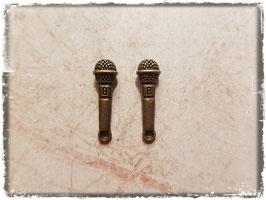 Metall Charms-Mikrophon Bronce-186