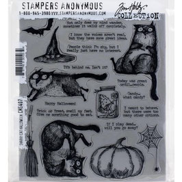 Stampers Anonymous by Tim Holtz-Stempel/Snarky Cat Halloween CMS407