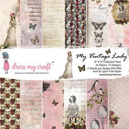 "Dress my Craft-Paper Pad My Vintage Lady 6x6"""
