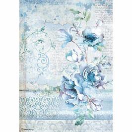 Stamperia Reispapier A4-Blue Land DFSA4337