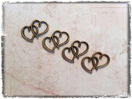 Vintage bronce Charms - Herzen 137