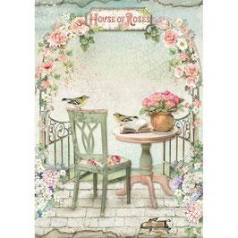 Stamperia Reispapier A4-House of Roses DFSA4449