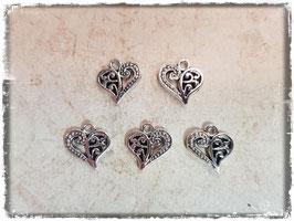 Metall Charms-Herzen Silber-299