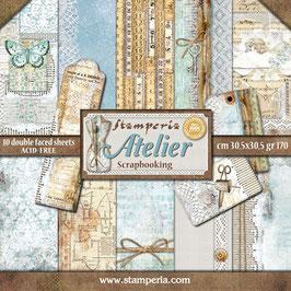 "Stamperia-Paper Pad Atelier 12x12"""