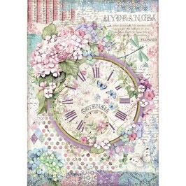 Stamperia Reispapier A4-Hortensia DFSA4468