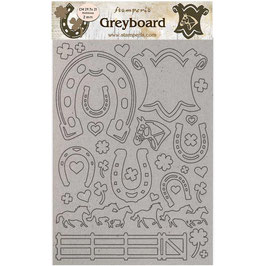 Stamperia Greyboard-Karton Stanzteile/Romantic Horses LSPDA435