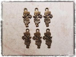 Metall Charms-Mädchen mit Blumen Bronce-1/103