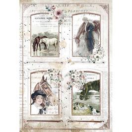Stamperia Reispapier A4-Romantic Horses DFSA4581
