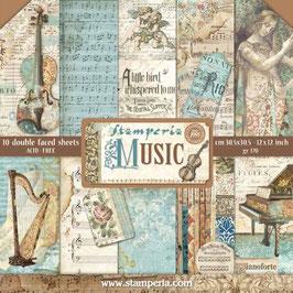 """Stamperia-Paper Pad Musik 12x12"""""""