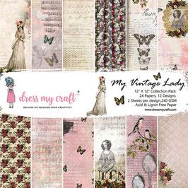"Dress my Craft-Paper Pad My Vintage Lady 12x12"""