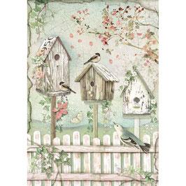 Stamperia Reispapier A4-House of Roses DFSA4448
