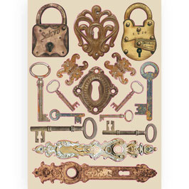Stamperia-farbige Holzformen A5-Lady Vagabond Locks and Keys