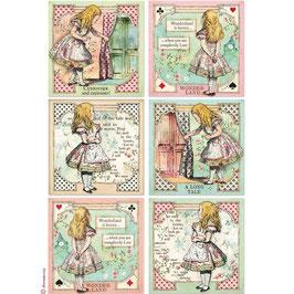 Stamperia Reispapier A4-Alice DFSA4382