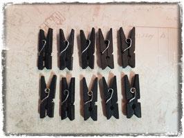 Mini Wäscheklammer - Holz schwarz 421